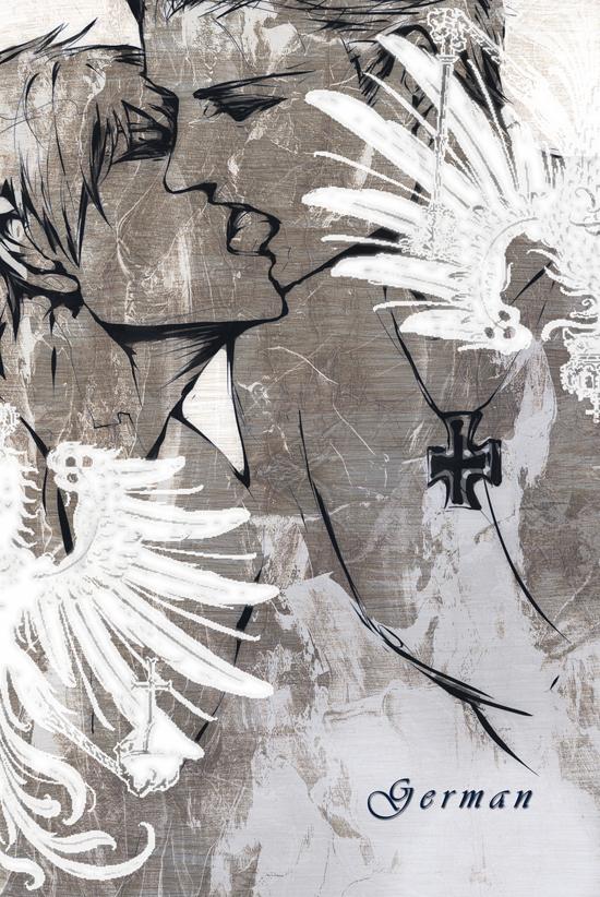 Tags: Anime, Pixiv Id 709521, Axis Powers: Hetalia, Prussia, Germany, Mobile Wallpaper, GerPru