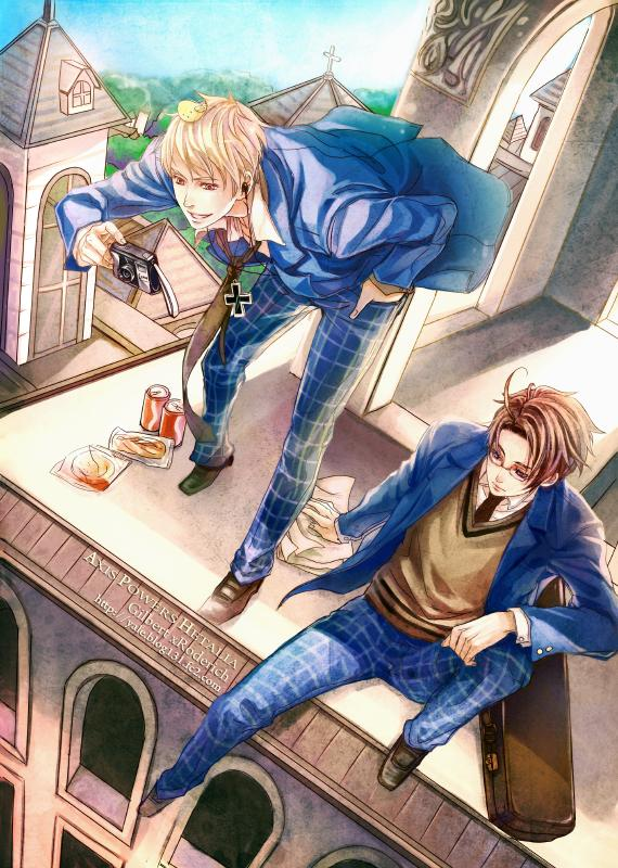 Tags: Anime, Pixiv Id 1044821, Axis Powers: Hetalia, Austria, Prussia, Gilbird, Sitting On Roof, Coca Cola, Can, Roof, Iron Cross, Fanart, Gakuen Hetalia