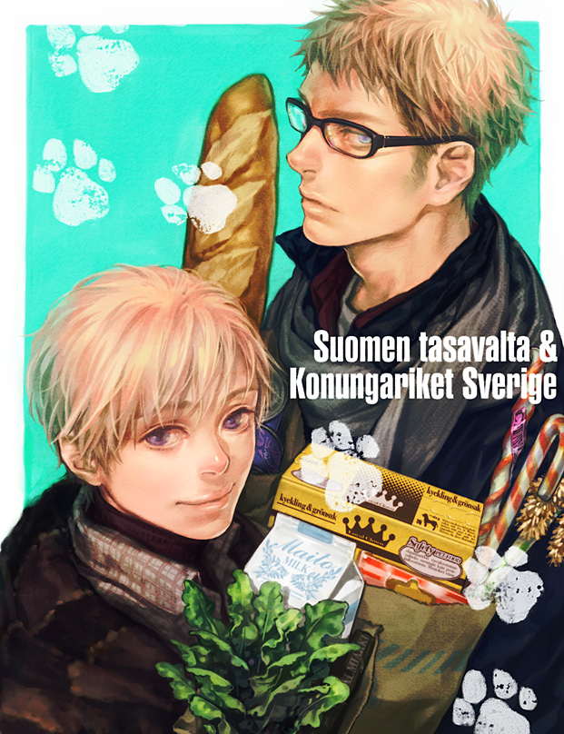Tags: Anime, A K I, Axis Powers: Hetalia, Finland, Sweden, Swedish Text, Groceries, Candy Cane, Finnish Text, Milk, Shopping Bag, Pixiv