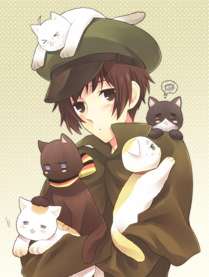 Tags: Anime, Pixiv Id 371567, Axis Powers: Hetalia, Italycat, Germancat, Iggycat, Japan, Japancat, Americat, Nekotalia, Pixiv, Fanart