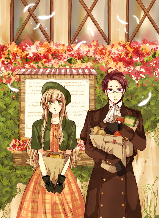 Tags: Anime, Axis Powers: Hetalia, Austria, Hungary, Bushes, Feather, Outdoors