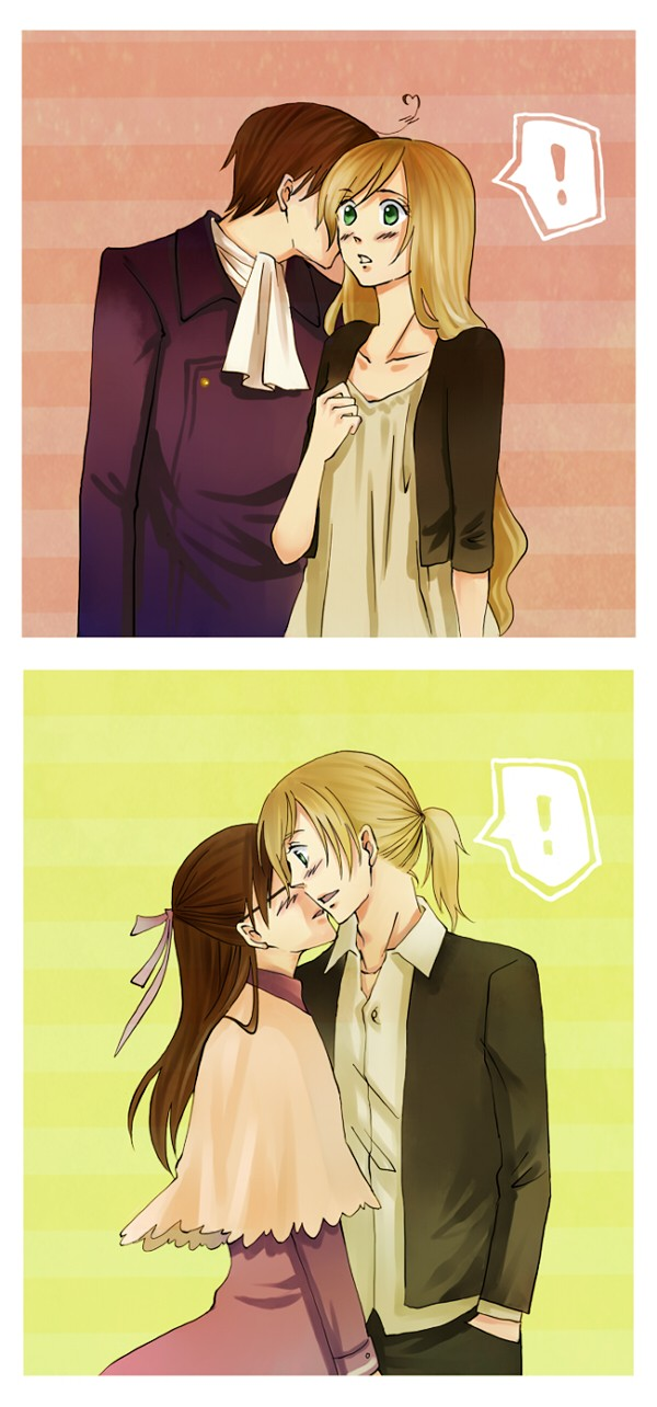 Tags: Anime, Pixiv Id 146389, Axis Powers: Hetalia, Austria, Austria (Female), Hungary, Hungary (Male), Nyotalia, AusHun, Allied Forces