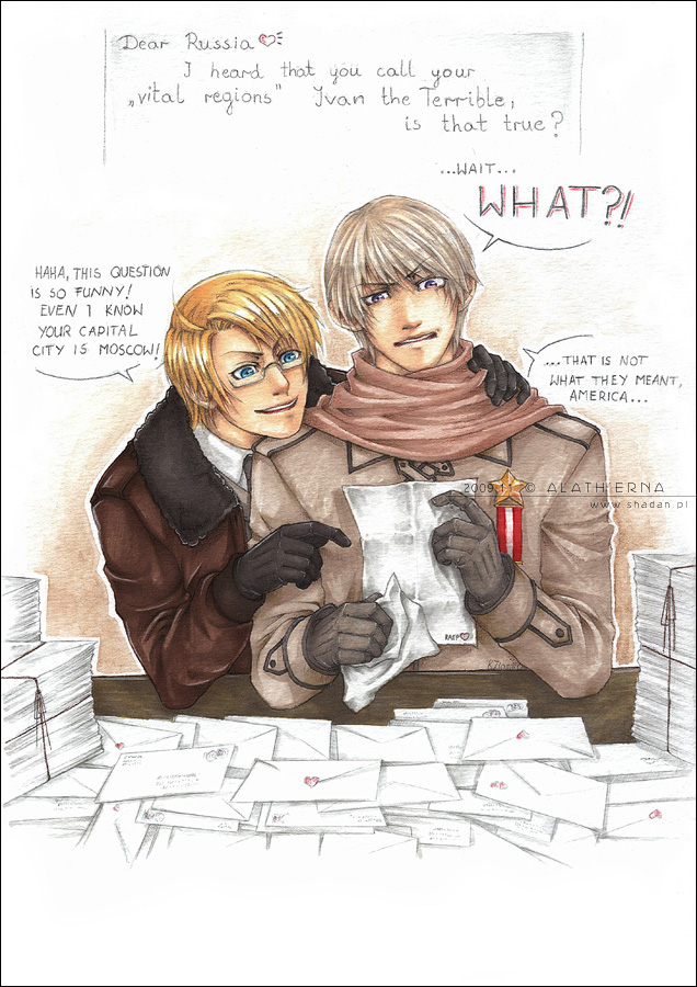 Tags: Anime, Alatherna, Axis Powers: Hetalia, United States, Russia, deviantART, Mobile Wallpaper, Allied Forces, Soviet Union