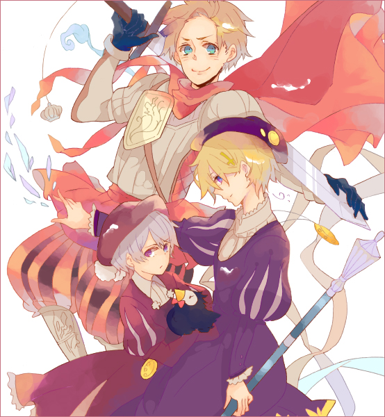 Tags: Anime, Wakoku Nito, Axis Powers: Hetalia, Denmark, Iceland, Norway, Mr. Puffin, Puffin, Pixiv, Fanart, Nordic Countries