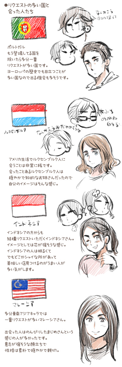 Tags: Anime, Himaruya Hidekaz, Axis Powers: Hetalia, Malaysia, Indonesia, Fan Character, Luxembourg, Portugal, Sketch, Mediterranean Countries