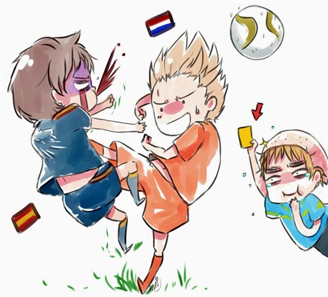 Tags: Anime, Axis Powers: Hetalia, United Kingdom, Netherlands, Spain, Yellow Card, Artist Request