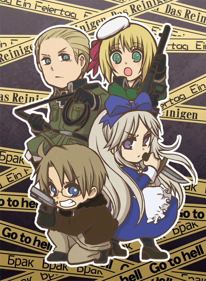 Tags: Anime, Rihito (a*ratama), Axis Powers: Hetalia, Hetaoni, United States, Germany, Belarus, Liechtenstein, Bomber Jacket, Crime Scene Tape, Fanart, Pixiv