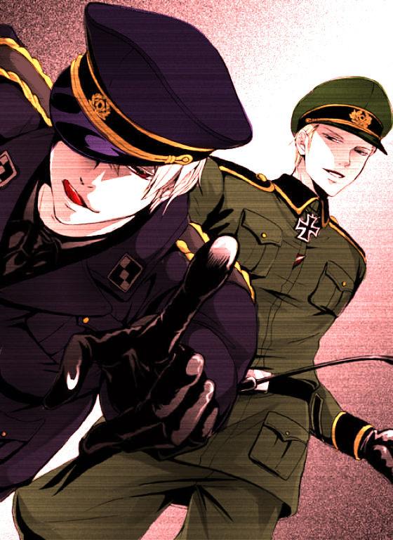 Tags: Anime, Whip, Axis Powers: Hetalia, Prussia, Germany, Incest, Military Hat