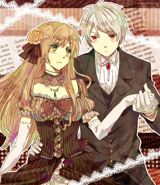 Tags: Anime, Washi (Micino), Axis Powers: Hetalia, Prussia, Hungary, European Clothes, Arm Around Waist