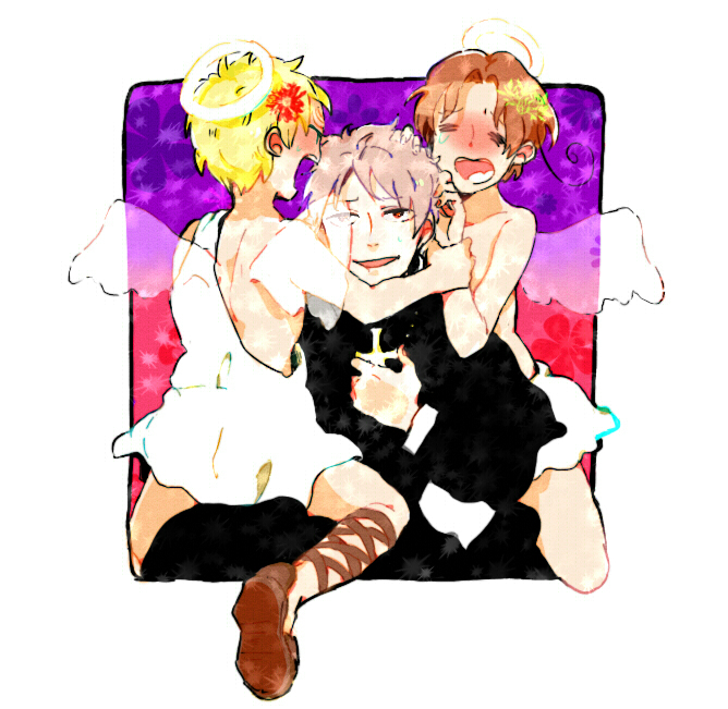Tags: Anime, Axis Powers: Hetalia, Prussia, United Kingdom, North Italy, Axis Power Countries, Allied Forces, Mediterranean Countries