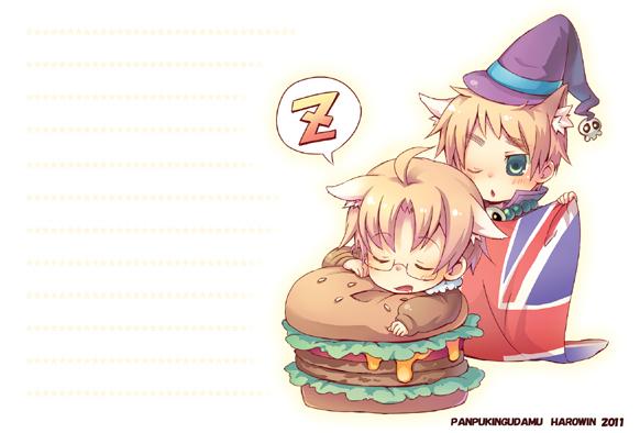 Tags: Anime, Pixiv Id 588226, Axis Powers: Hetalia, United Kingdom, United States, Flag, Hamburger