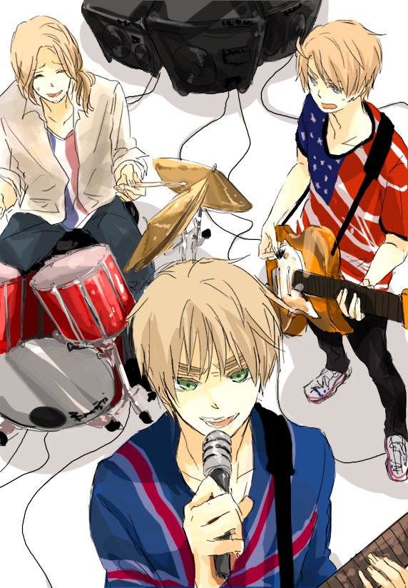 Tags: Anime, Koujisako, Axis Powers: Hetalia, France, United Kingdom, United States, Guitar Pick, Drumsticks, Flag Print, Mobile Wallpaper, Allied Forces