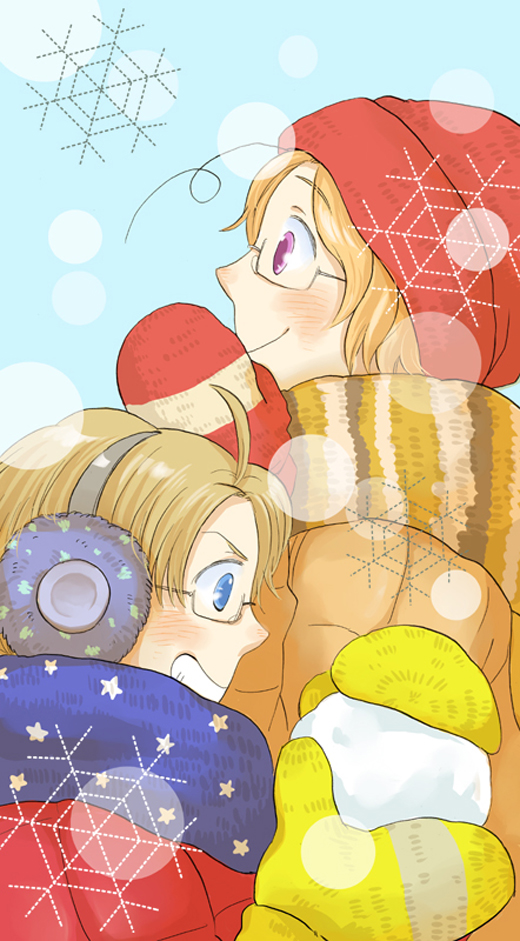 Tags: Anime, Pixiv Id 1226445, Maple, Axis Powers: Hetalia, United States, Canada, Yellow Handwear, Yellow Gloves, Allied Forces