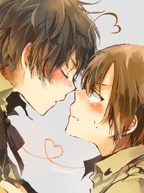 Tags: Anime, Bubblehour, Axis Powers: Hetalia, South Italy, Spain, Nose Touching, Fanart, Pixiv, Mediterranean Countries, Spamano