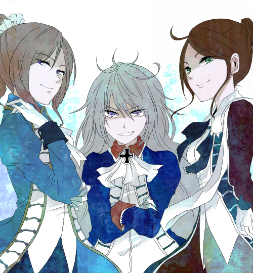 Tags: Anime, Pixiv Id 805720, Axis Powers: Hetalia, Spain (Female), France (Female), Prussia (Female), European Clothes