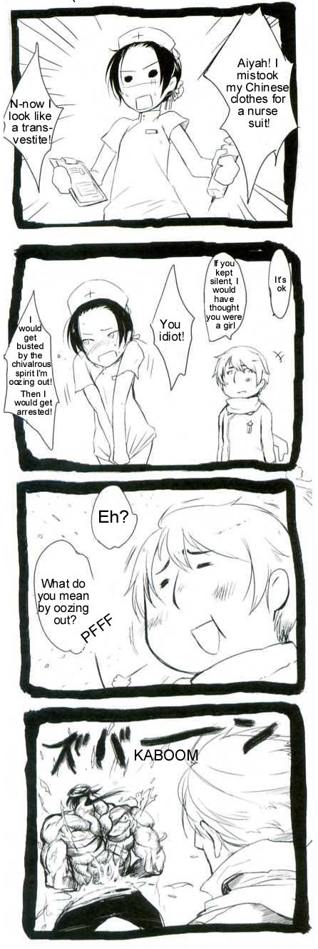 Tags: Anime, Axis Powers: Hetalia, China, Russia, Clipboard, 4koma, Trench Coat, Comic, Asian Countries, Soviet Union, Allied Forces