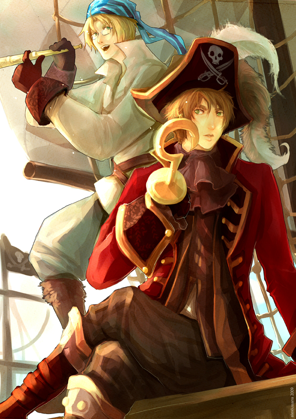 Tags: Anime, Axis Powers: Hetalia, United Kingdom, United States, Binoculars, Hook (Hand), Fanart, deviantART, Mobile Wallpaper, Allied Forces