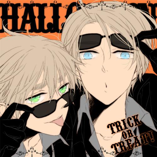 Tags: Anime, marie (Pixiv 1562953), Axis Powers: Hetalia, United Kingdom, United States, Text: Trick Or Treat, Fanart, Pixiv, Allied Forces