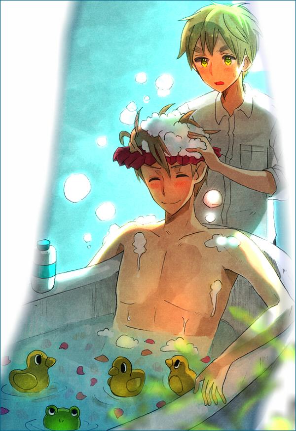 Tags: Anime, Axis Powers: Hetalia, United States, United Kingdom, Shampoo, Bathtub, Rubber Duck, Washing, Mobile Wallpaper, Allied Forces