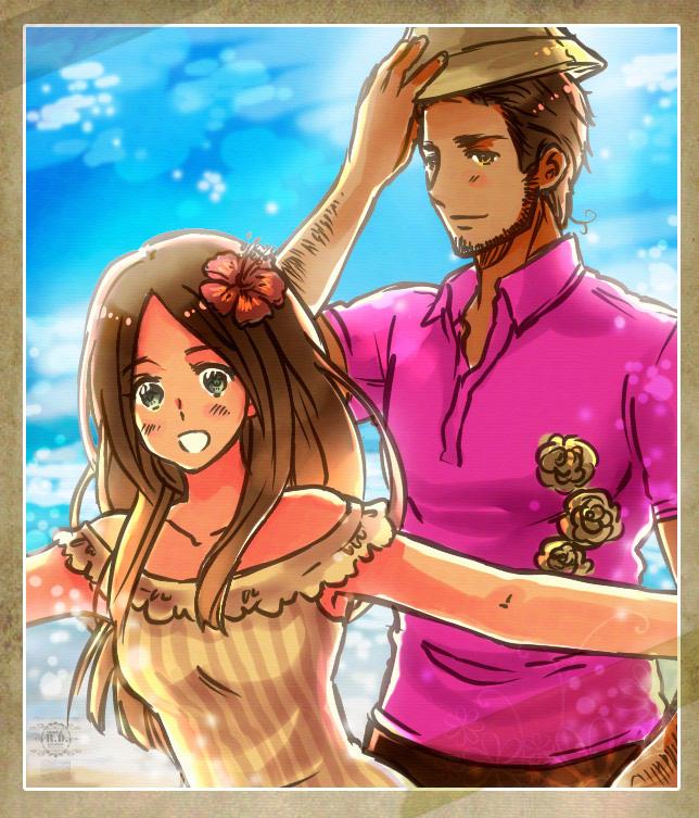 Tags: Anime, Rosel D, Axis Powers: Hetalia, Turkey, Hawaii (Hetalia), Tropical, Fanart, deviantART, Mediterranean Countries