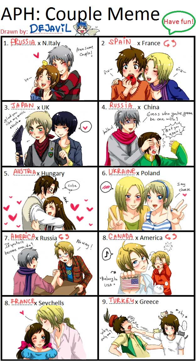 Tags: Anime, Dejavil, Axis Powers: Hetalia, Austria, Russia, Turkey, Japan, United Kingdom, Prussia, Poland, Taiwan, United States, China