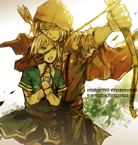 Tags: Anime, Hoka, Axis Powers: Hetalia, Switzerland, Liechtenstein, Medieval, Protecting, Fanart, Pixiv