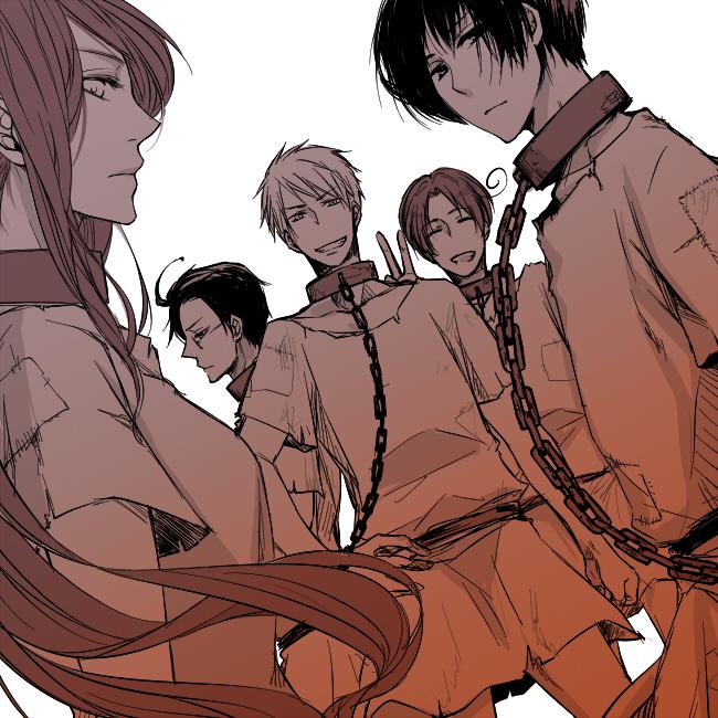 Tags: Anime, Axis Powers: Hetalia, Japan, Austria, North Italy, Prussia, Hungary, Slave, Shackles, Hetaween 2011, Pixiv, Fanart, Germanic Countries