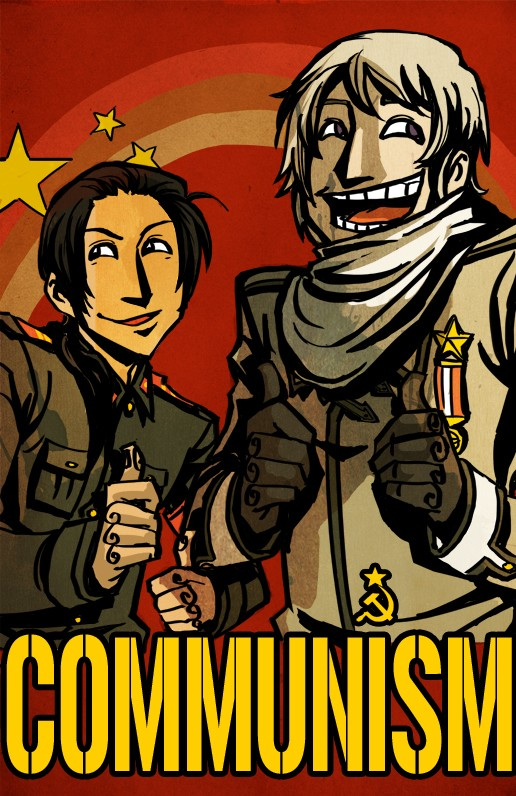 Tags: Anime, Axis Powers: Hetalia, China, Russia, Hammer And Sickle, Thumbs Up, Communism, Mobile Wallpaper, Allied Forces, Asian Countries, Soviet Union