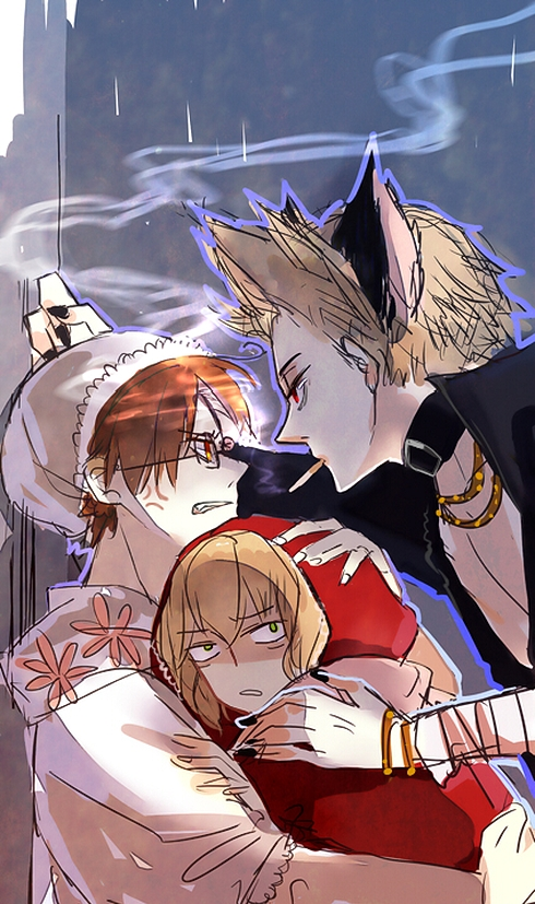 Tags: Anime, KKKKILTH, Axis Powers: Hetalia, South Italy, Netherlands, Belgium, Red Riding Hood (Cosplay), Hetaween 2011, Pixiv, Mobile Wallpaper, Fanart, Hetaween