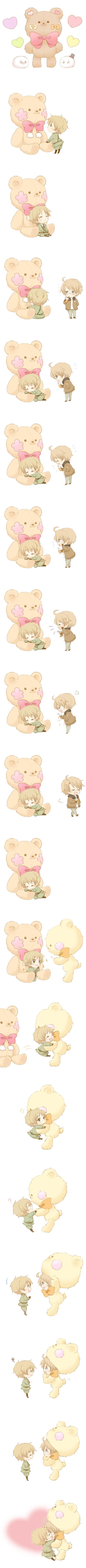 Tags: Anime, Kuma (Pixiv3780600), Axis Powers: Hetalia, United Kingdom, United States, Mochimerica, Mochirisu, Bear Costume, Comic, Mochitalia, Pixiv, Allied Forces