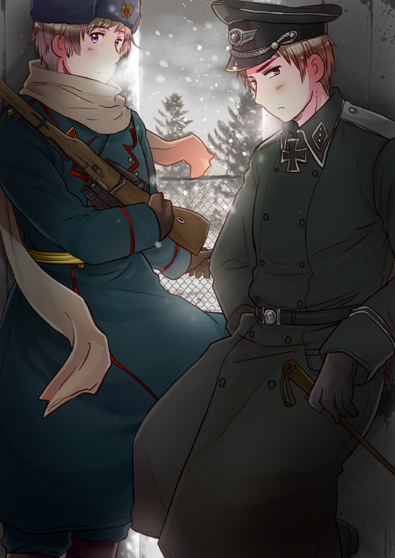 Tags: Anime, Leveldevil, Axis Powers: Hetalia, Prussia, Russia, Ushanka, Iron Cross, Mobile Wallpaper, Fanart, Pixiv, Axis Power Countries, Allied Forces, Soviet Union