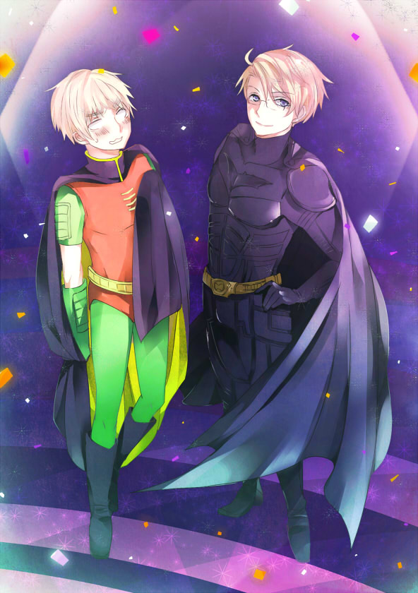 Tags: Anime, Pixiv Id 451733, Axis Powers: Hetalia, Batman, United Kingdom, United States, DC Comics, Mobile Wallpaper, Fanart, Hetaween 2011, Pixiv, Allied Forces