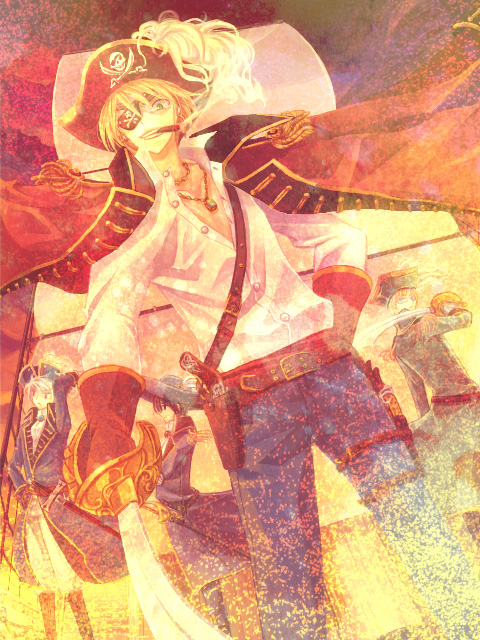 Tags: Anime, Pixiv Id 244537, Axis Powers: Hetalia, Sweden, United Kingdom, Prussia, Japan, Skull And Crossbones, Pixiv, Fanart, Germanic Countries, Axis Power Countries, Allied Forces