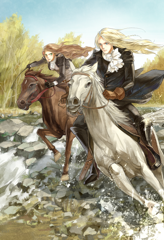 Tags: Anime, Pixiv Id 419830, Axis Powers: Hetalia, Hungary, Germania, Horseback Riding, Fanart, Mobile Wallpaper, Pixiv, Germanic Countries
