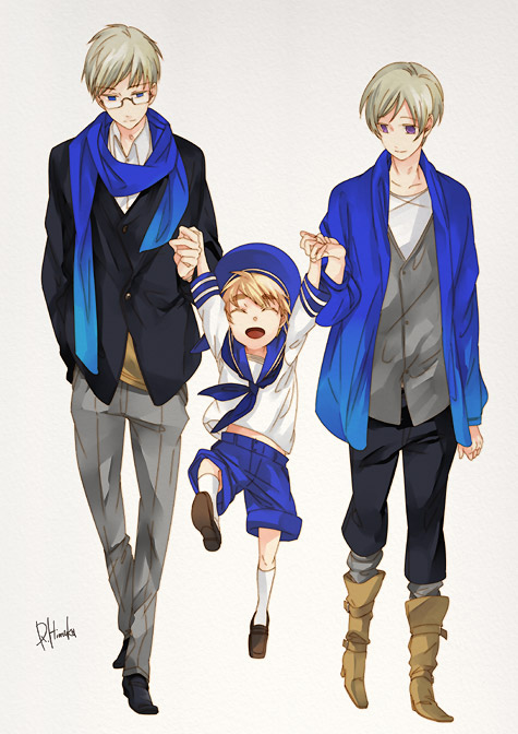Tags: Anime, Shiho (COLOR PALETTE), Axis Powers: Hetalia, Sweden, Sealand, Finland, Walking Together, Pixiv, Fanart, Mobile Wallpaper, Nordic Countries