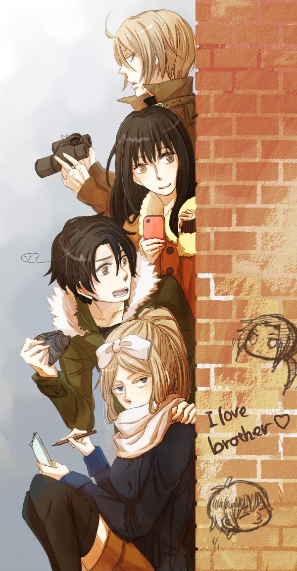 Tags: Anime, Keshizumi, Masterfighter, Axis Powers: Hetalia, South Korea (Female), China, South Korea, Belarus (Male), Belarus, Russia, Brick Wall, Binoculars, Notepad