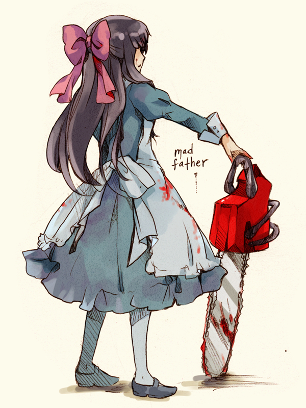 Tags: Anime, Wavewhisper, Mad Father, Aya Dravis, Chainsaw, Blood On Weapons, PNG Conversion, Pixiv, Fanart, Fanart From Pixiv
