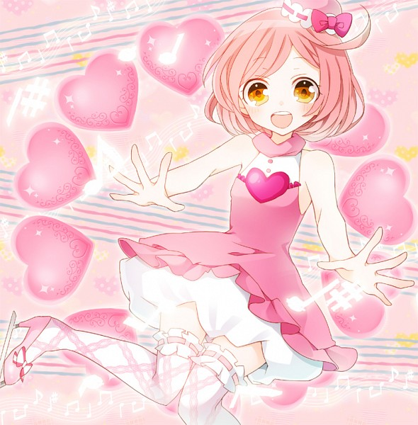 Tags: Anime, Pink Dress, Pink Outfit, Ice Skating, Pink Background, Sleeveless, Ice Skates