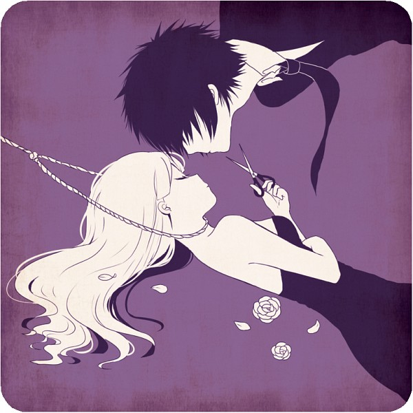Tags: Anime, Ayu, Scissors, Noose, Rope, Rounded Corners, Purple Background
