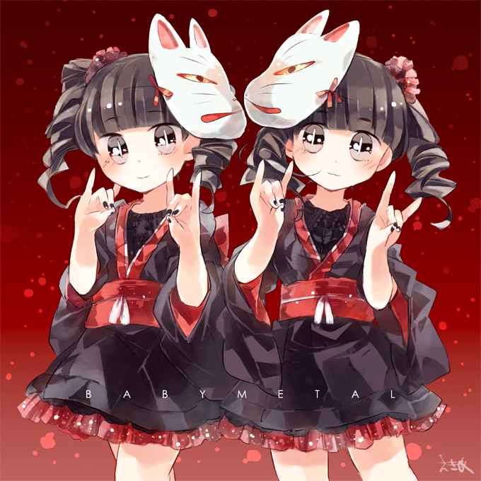 Tags: Anime, Pixiv Id 26474, Mizuno Yui, Kikuchi Moa, Fox Handsign, Fanart From Pixiv, Pixiv, Fanart, BABYMETAL
