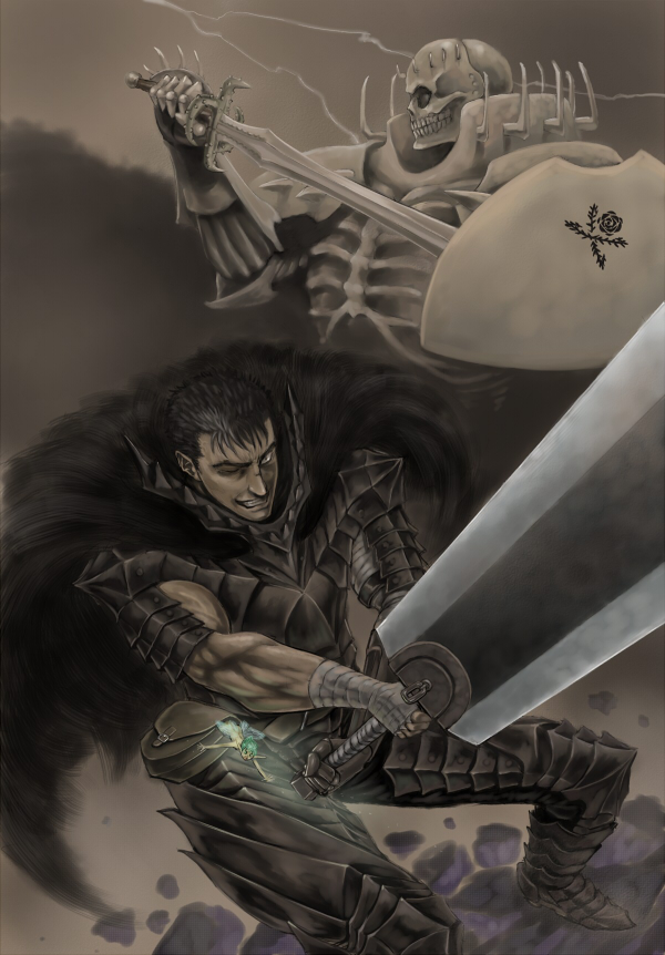 Tags: Anime, BERSERK (Kentaro Miura), Guts (BERSERK), Skull Knight, Shield, Berserker Armor, Warrior
