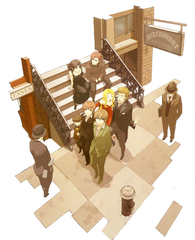 Tags: Anime, Enami Katsumi, Baccano!, Ennis, Firo Prochainezo, Claire Stanfield, Czeslaw Meyer, Chane Laforet, Miria Harvent, Isaac Dian, Scan, Official Art