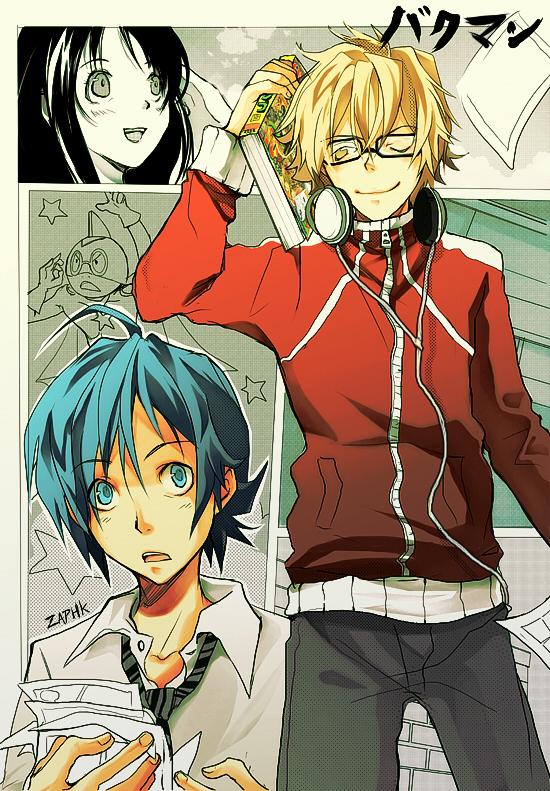 Tags: Anime, Bakuman。, Mashiro Moritaka, Azuki Miho, Takagi Akito, Drawing (Object), Mobile Wallpaper, Ashirogi Muto