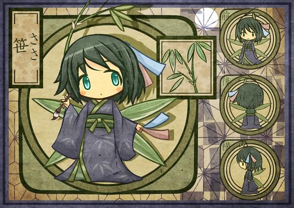 Tags: Anime, Akihiyo, Brush, Bamboo, Plant (Personification), Fairy, Asa no Ha (Pattern)