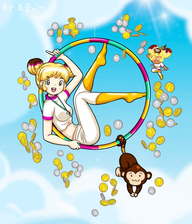 Tags: Anime, Jo (Zksqkfk2005), Cookie Run, Choco Monkey, Banana Cookie, Hoop, Whistle (Object), Yellow Legwear, Coin, White Shorts, Hoola Hoop, Fanart