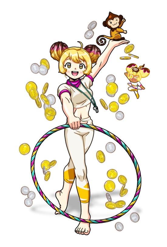 Tags: Anime, Jo (Zksqkfk2005), Cookie Run, Banana Cookie, Choco Monkey, Hoop, Whistle (Object), Coin, Fanart