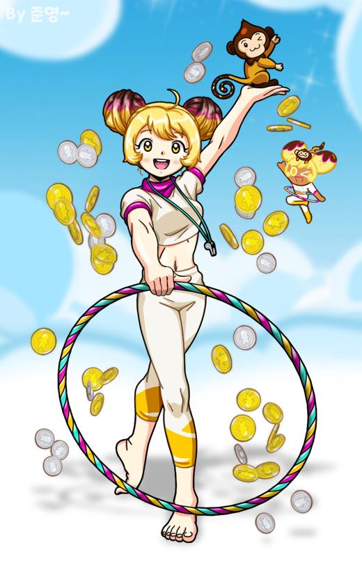 Tags: Anime, Jo (Zksqkfk2005), Cookie Run, Choco Monkey, Banana Cookie, Whistle (Object), Coin, Hoop, Fanart