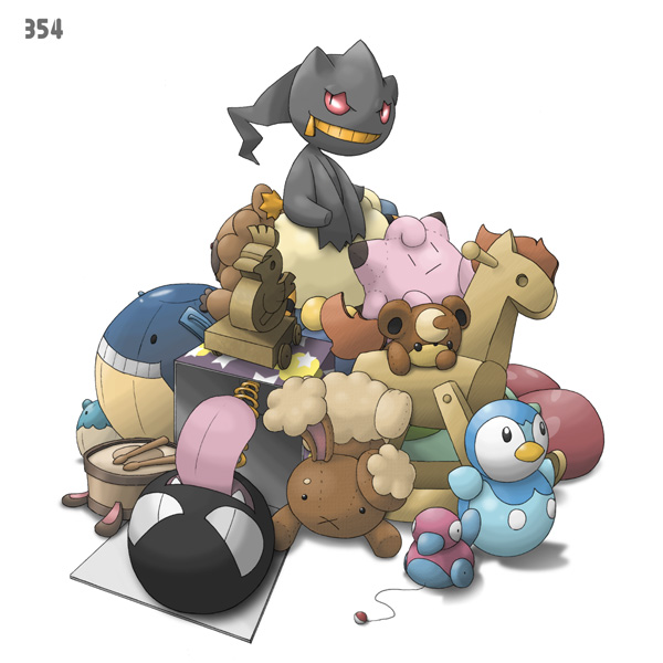 Tags: Anime, Ditb, Pokémon, Banette, Gastly, Piplup, Drum, Rocking Horse