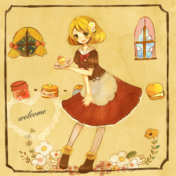 Tags: Anime, Amelie (Pixiv Id 109341), Pokémon, Bel (Pokémon), Pancakes, Cream Puff, Jam, Day And Night, Strawberry Shortcake, Round Window, Original, Bianca (pokemon)
