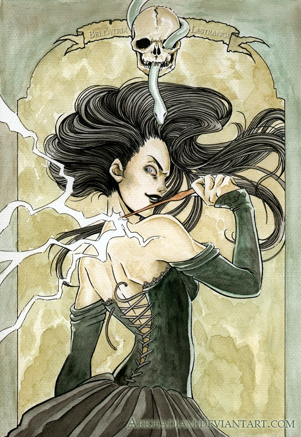 Tags: Anime, Harry Potter, Bellatrix Lestrange, Black Lips, Small Pupils, Fanart From DeviantART, Fanart, Mobile Wallpaper, deviantART, Death Eaters